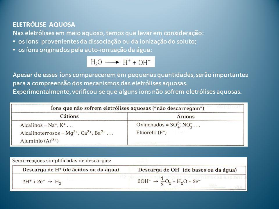 Exemplo: eletrólise aquosa do NaCl