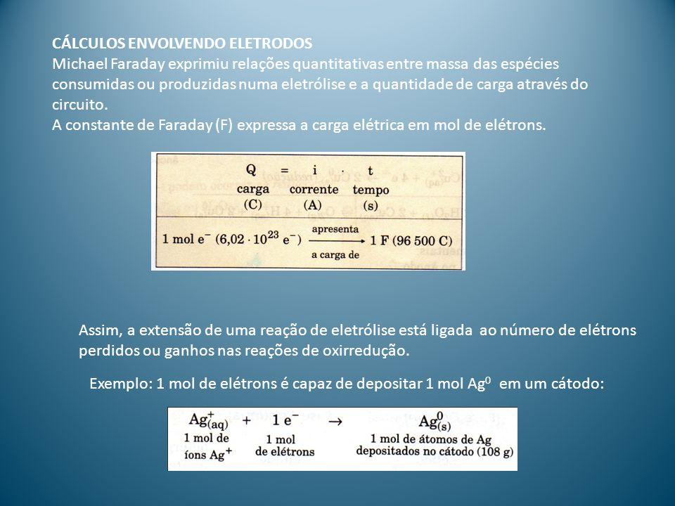 CÁLCULOS ENVOLVENDO ELETRODOS Michael Faraday exprimiu relações quantitativas entre massa das espécies consumidas ou produzidas numa eletrólise e a quantidade de carga através do circuito.