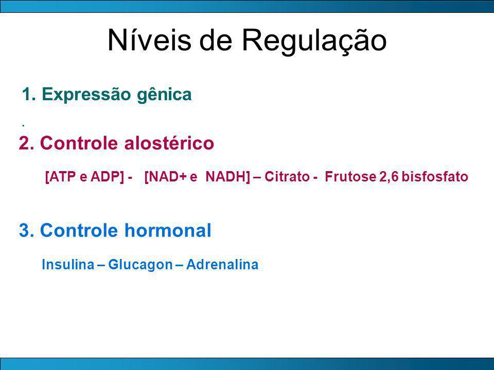 Níveis de Regulação 1. Expressão gênica. 2. Controle alostérico [ATP e ADP] - [NAD+ e NADH] – Citrato - Frutose 2,6 bisfosfato 3. Controle hormonal In