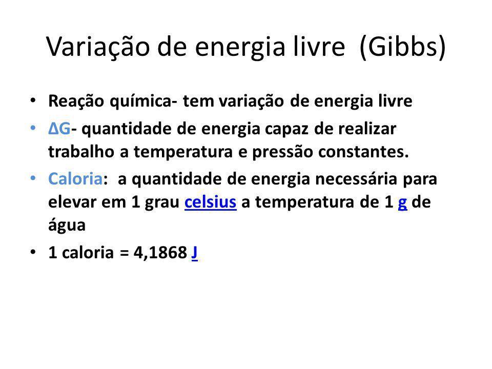 Variação de energia livre (Gibbs) Reação química- tem variação de energia livre G- quantidade de energia capaz de realizar trabalho a temperatura e pr