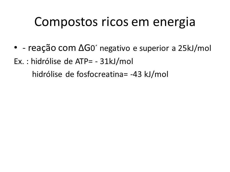 Compostos ricos em energia - reação com G 0´ negativo e superior a 25kJ/mol Ex. : hidrólise de ATP= - 31kJ/mol hidrólise de fosfocreatina= -43 kJ/mol