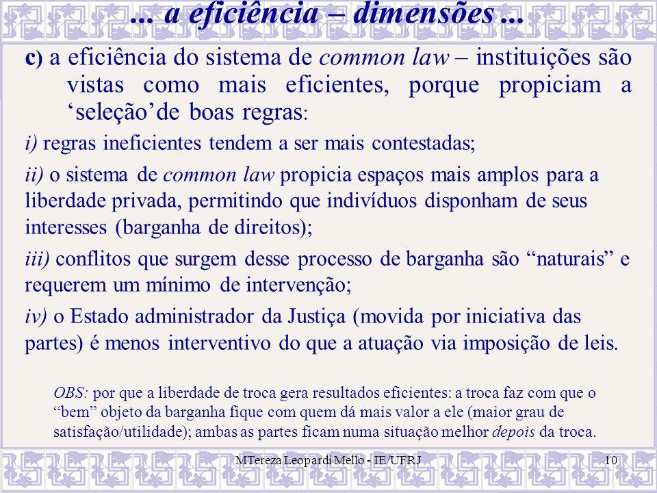 MTereza Leopardi Mello - IE/UFRJ10... a eficiência – dimensões... c ) a eficiência do sistema de common law – instituições são vistas como mais eficie