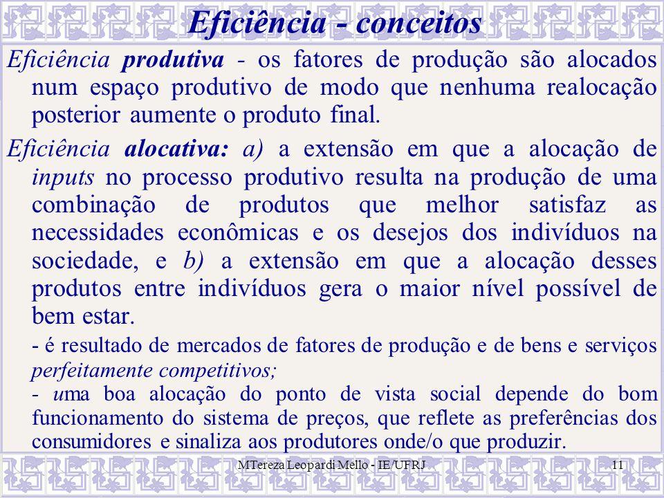 MTereza Leopardi Mello - IE/UFRJ11 Eficiência - conceitos Eficiência produtiva - os fatores de produção são alocados num espaço produtivo de modo que