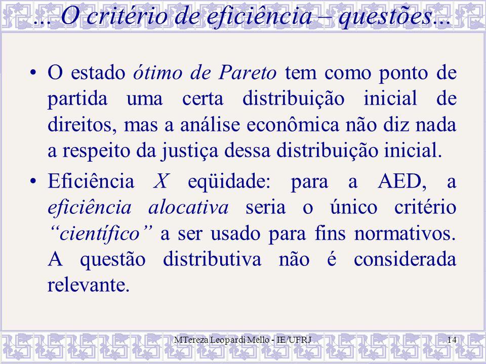 MTereza Leopardi Mello - IE/UFRJ14... O critério de eficiência – questões... O estado ótimo de Pareto tem como ponto de partida uma certa distribuição