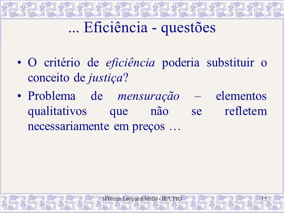 MTereza Leopardi Mello - IE/UFRJ15... Eficiência - questões O critério de eficiência poderia substituir o conceito de justiça? Problema de mensuração