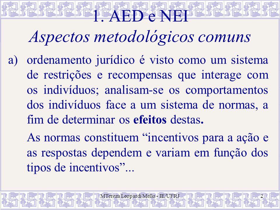 MTereza Leopardi Mello - IE/UFRJ2 1. AED e NEI Aspectos metodológicos comuns a)ordenamento jurídico é visto como um sistema de restrições e recompensa