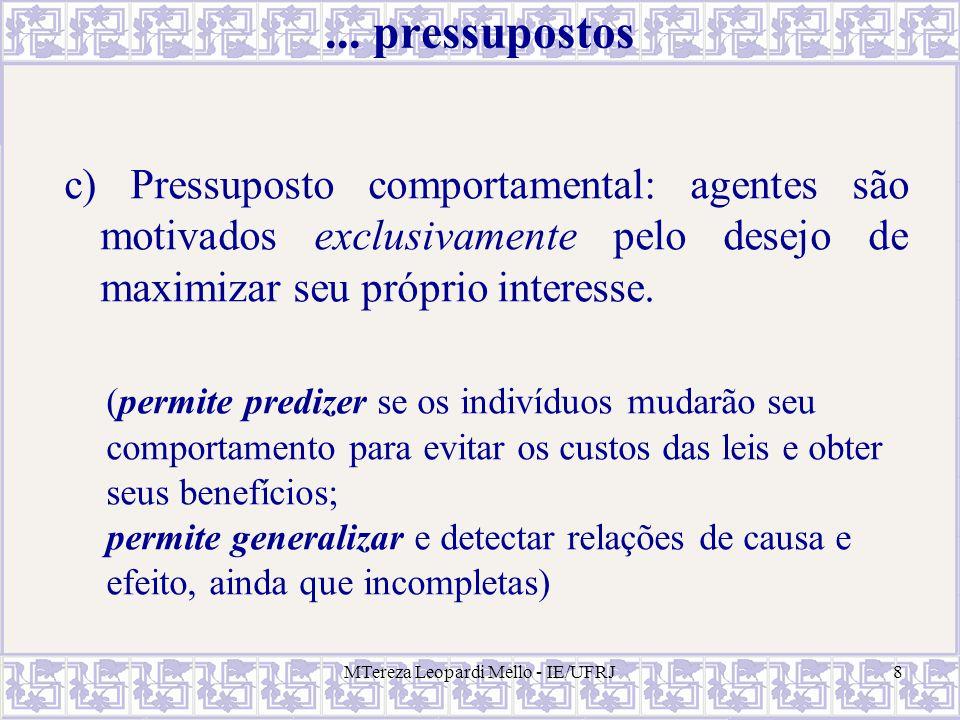 MTereza Leopardi Mello - IE/UFRJ8... pressupostos c) Pressuposto comportamental: agentes são motivados exclusivamente pelo desejo de maximizar seu pró