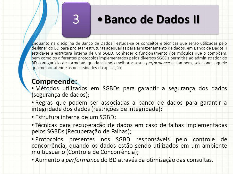 Banco de Dados IIBanco de Dados II 3 Enquanto na disciplina de Banco de Dados I estuda-se os conceitos e técnicas que serão utilizadas pelo designer d