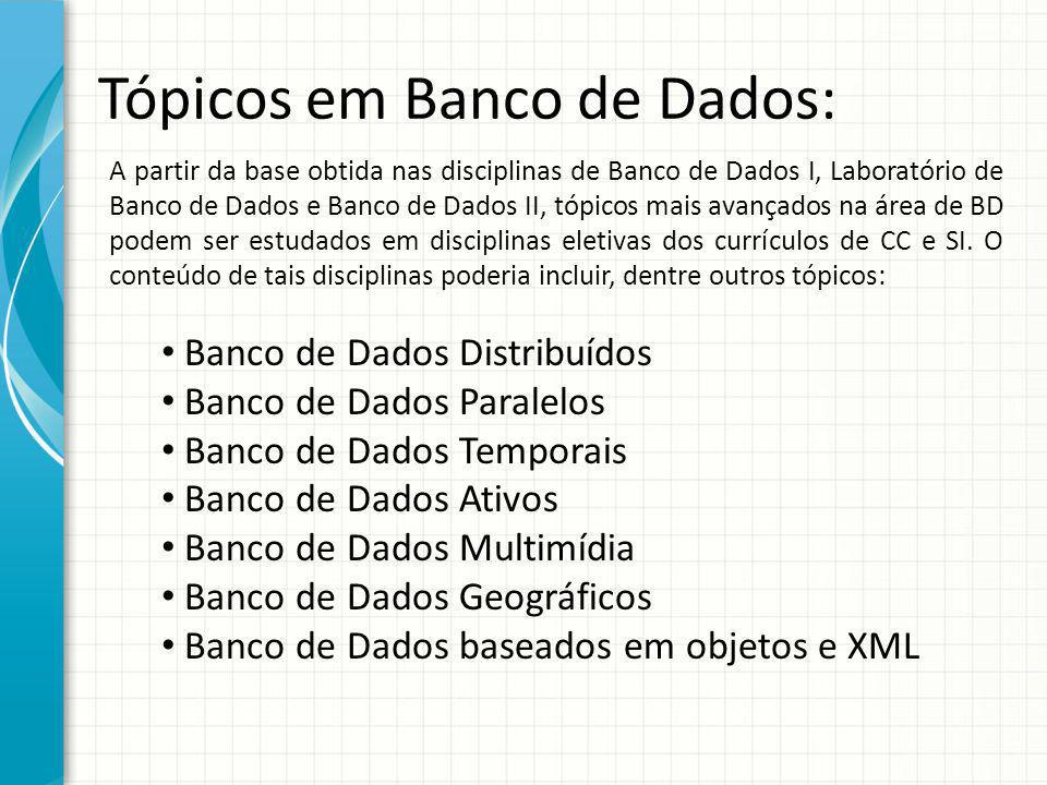Tópicos em Banco de Dados: A partir da base obtida nas disciplinas de Banco de Dados I, Laboratório de Banco de Dados e Banco de Dados II, tópicos mai