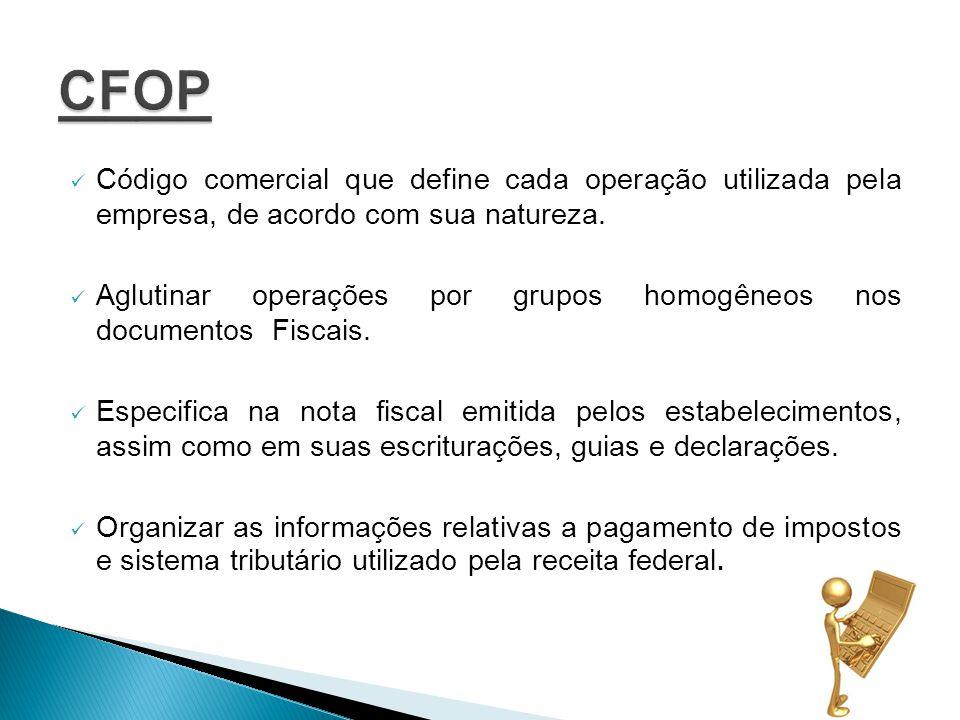 Código comercial que define cada operação utilizada pela empresa, de acordo com sua natureza.