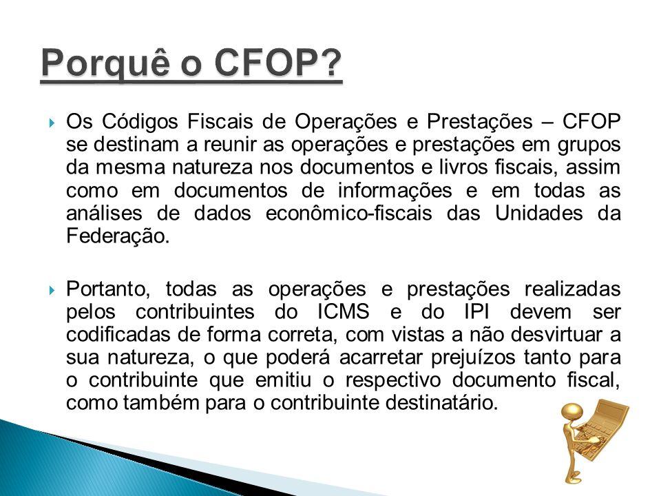 Os Códigos Fiscais de Operações e Prestações – CFOP se destinam a reunir as operações e prestações em grupos da mesma natureza nos documentos e livros fiscais, assim como em documentos de informações e em todas as análises de dados econômico-fiscais das Unidades da Federação.