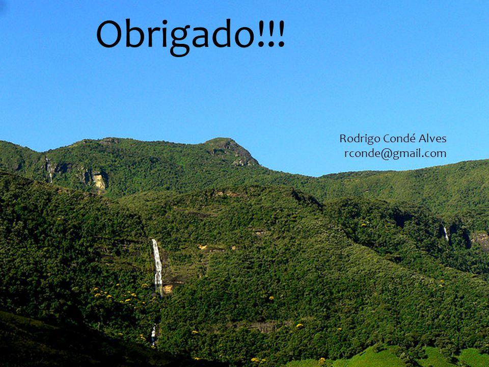 Obrigado!!! Rodrigo Condé Alves rconde@gmail.com