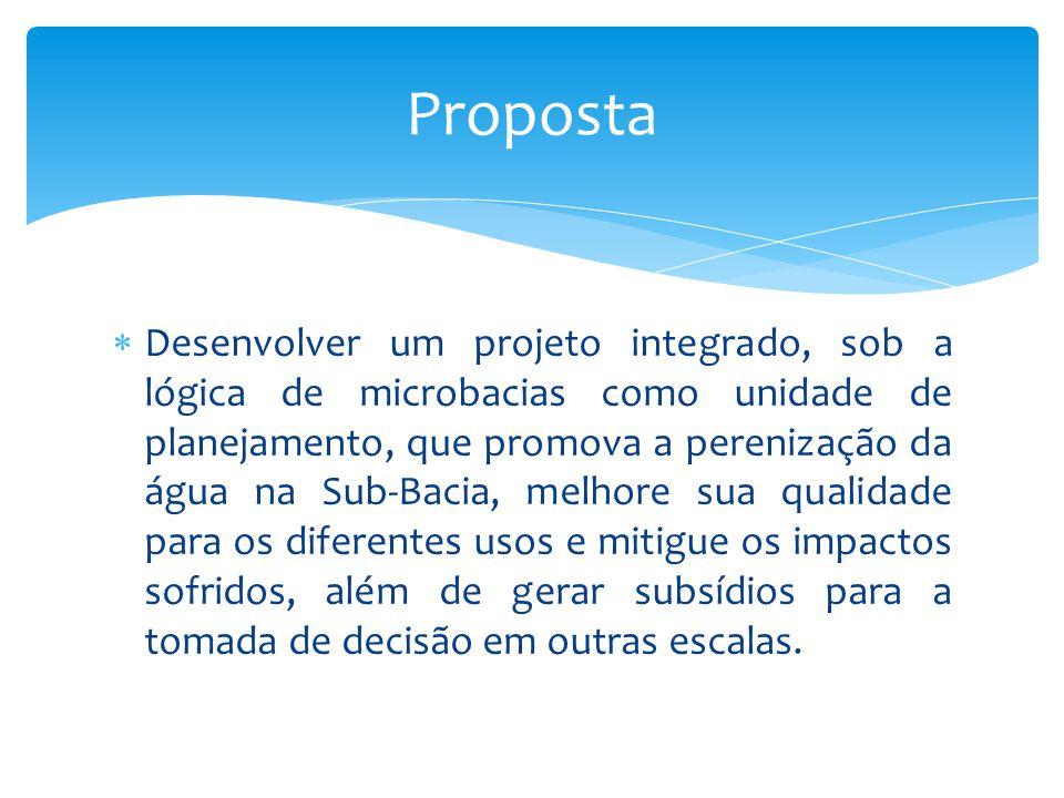 Desenvolver um projeto integrado, sob a lógica de microbacias como unidade de planejamento, que promova a perenização da água na Sub-Bacia, melhore su
