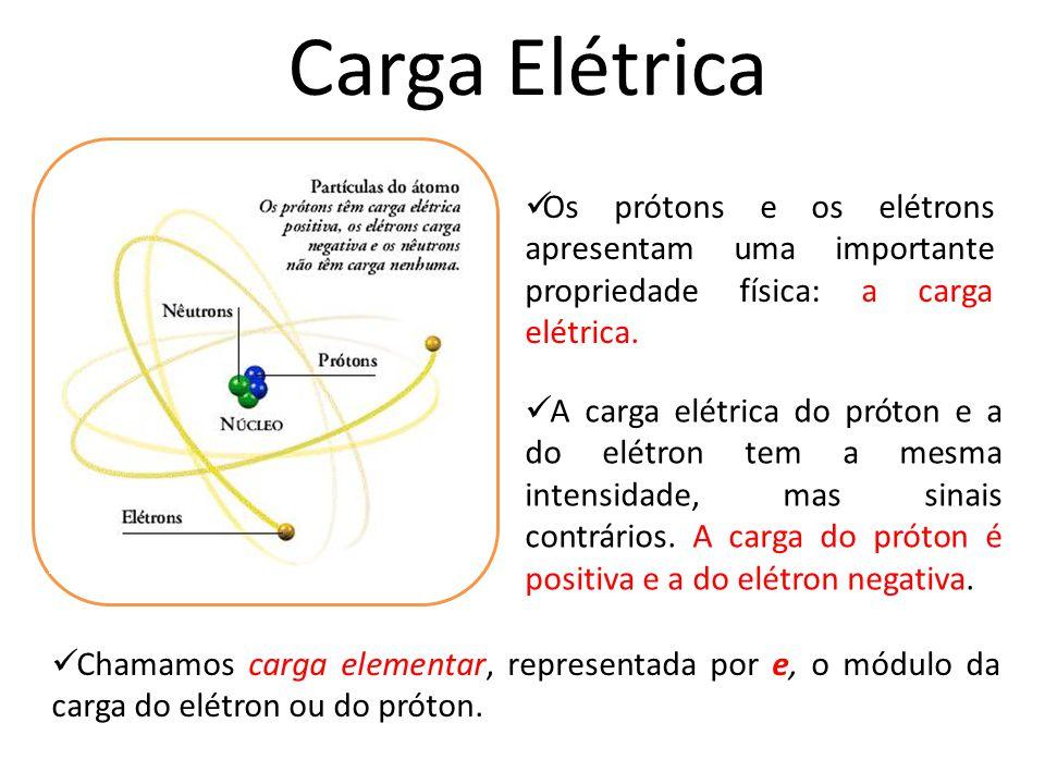 Carga Elétrica Chamamos carga elementar, representada por e, o módulo da carga do elétron ou do próton. Os prótons e os elétrons apresentam uma import
