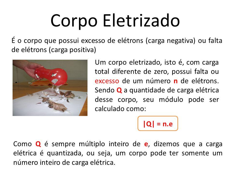 Corpo Eletrizado Um corpo eletrizado, isto é, com carga total diferente de zero, possui falta ou excesso de um número n de elétrons. Sendo Q a quantid
