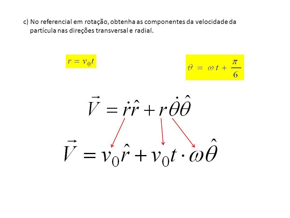 c) No referencial em rotação, obtenha as componentes da velocidade da partícula nas direções transversal e radial.