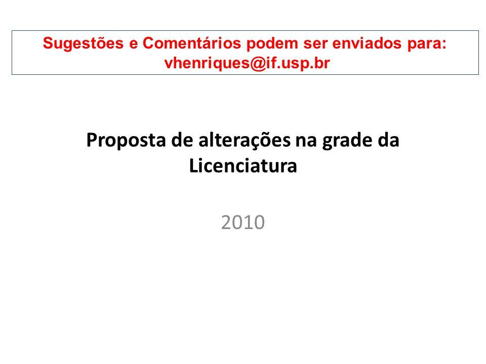 2010 Proposta de alterações na grade da Licenciatura Sugestões e Comentários podem ser enviados para: vhenriques@if.usp.br