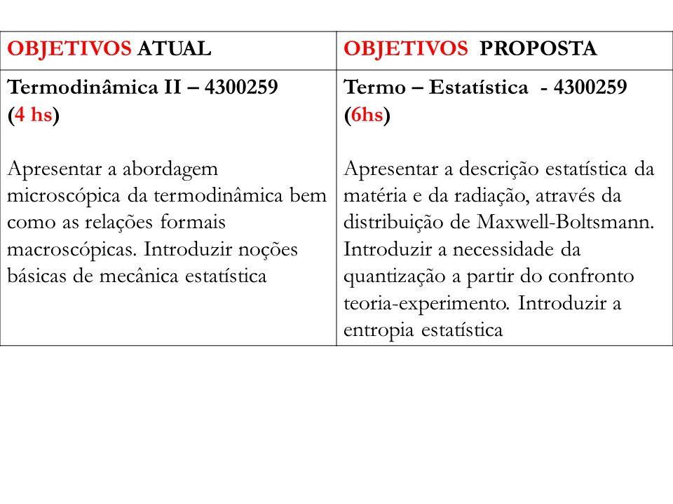 OBJETIVOS ATUALOBJETIVOS PROPOSTA Termodinâmica II – 4300259 (4 hs) Apresentar a abordagem microscópica da termodinâmica bem como as relações formais macroscópicas.
