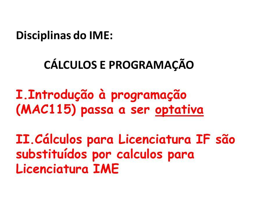 Disciplinas do IME: CÁLCULOS E PROGRAMAÇÃO I.Introdução à programação (MAC115) passa a ser optativa II.Cálculos para Licenciatura IF são substituídos por calculos para Licenciatura IME