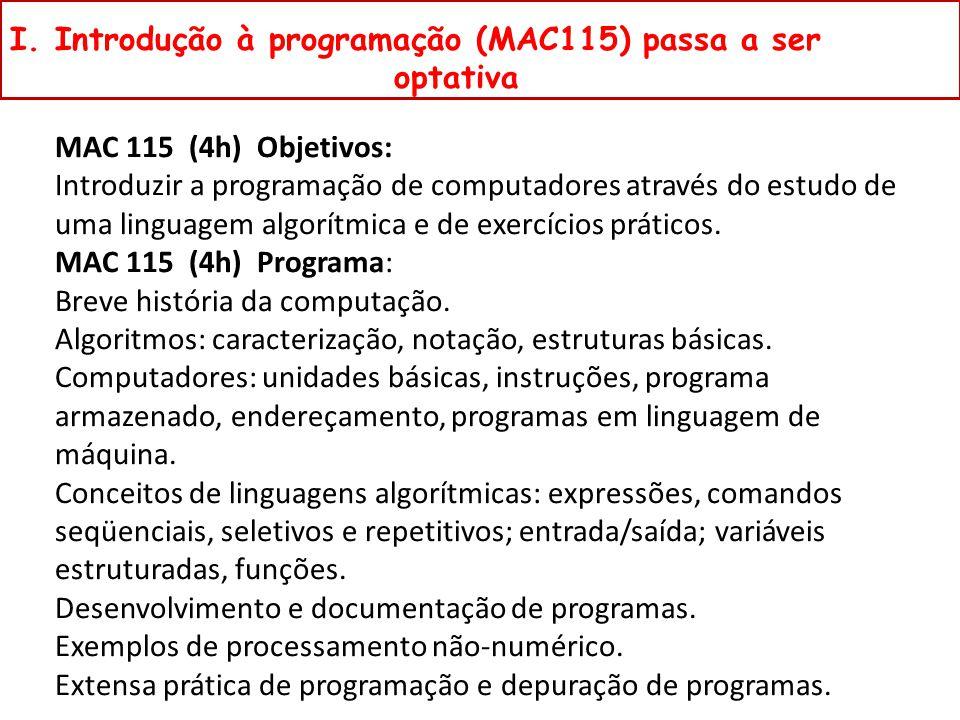 I. Introdução à programação (MAC115) passa a ser optativa MAC 115 (4h) Objetivos: Introduzir a programação de computadores através do estudo de uma li