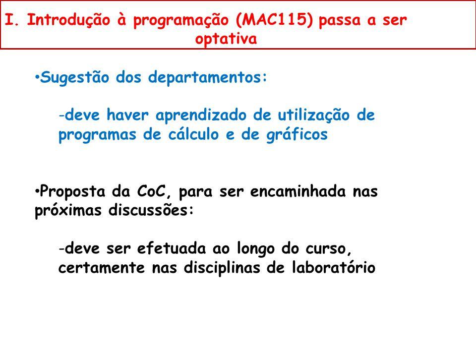 Sugestão dos departamentos: -deve haver aprendizado de utilização de programas de cálculo e de gráficos Proposta da CoC, para ser encaminhada nas próximas discussões: -deve ser efetuada ao longo do curso, certamente nas disciplinas de laboratório I.