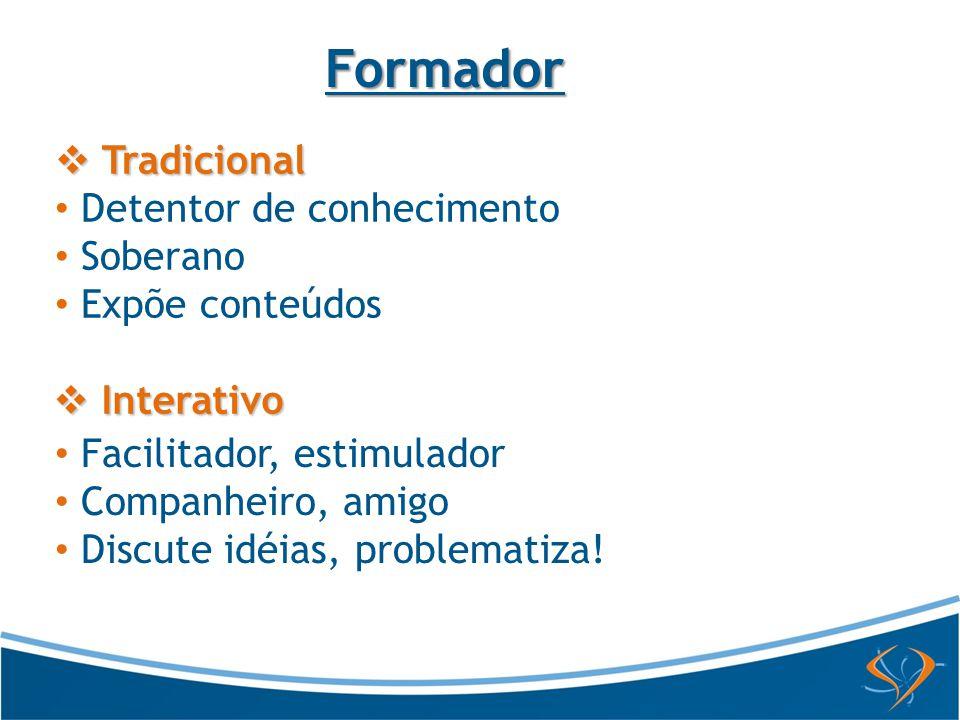 Tradicional Tradicional Detentor de conhecimento Soberano Expõe conteúdos Formador Facilitador, estimulador Companheiro, amigo Discute idéias, problem