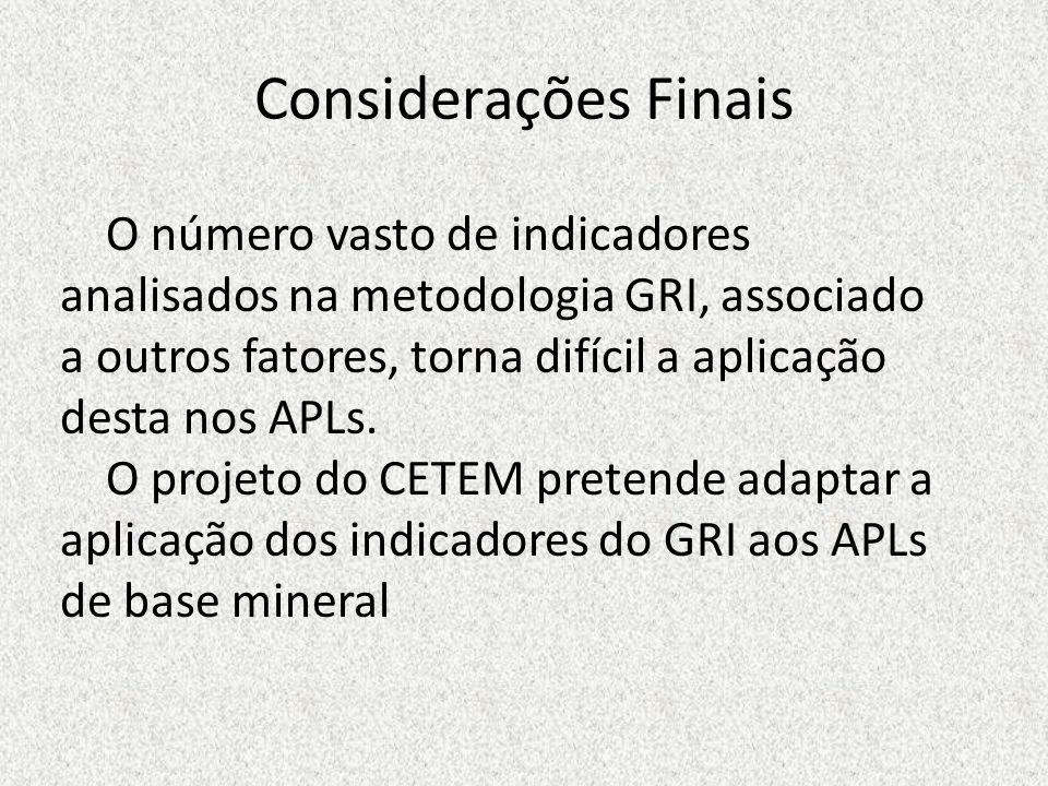 Considerações Finais O número vasto de indicadores analisados na metodologia GRI, associado a outros fatores, torna difícil a aplicação desta nos APLs
