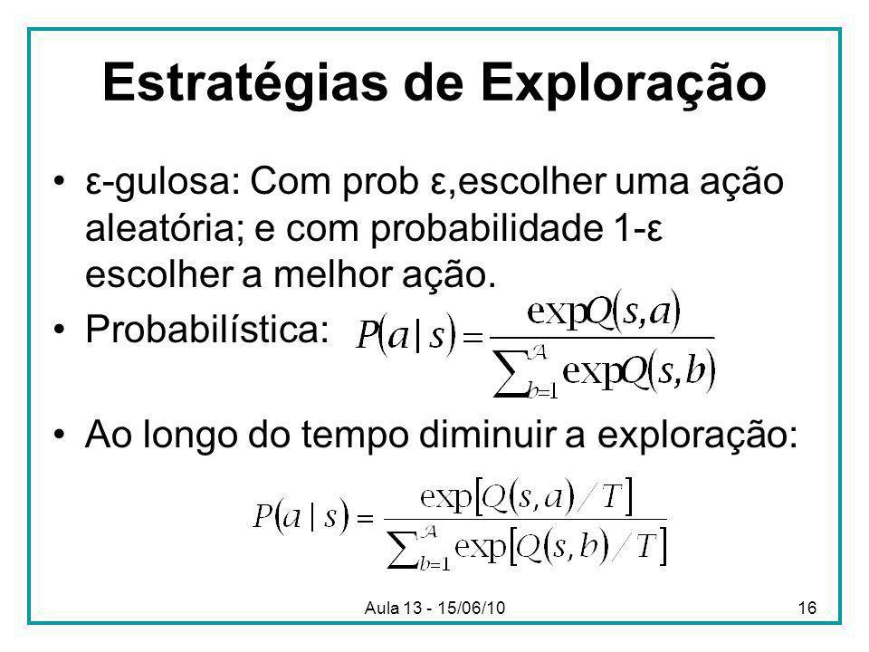 Aula 13 - 15/06/1016 Estratégias de Exploração ε-gulosa: Com prob ε,escolher uma ação aleatória; e com probabilidade 1-ε escolher a melhor ação.