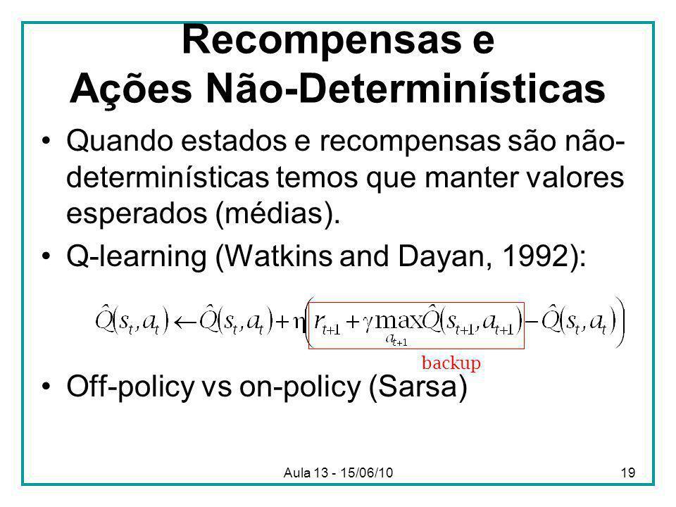 Aula 13 - 15/06/1019 Recompensas e Ações Não-Determinísticas Quando estados e recompensas são não- determinísticas temos que manter valores esperados (médias).