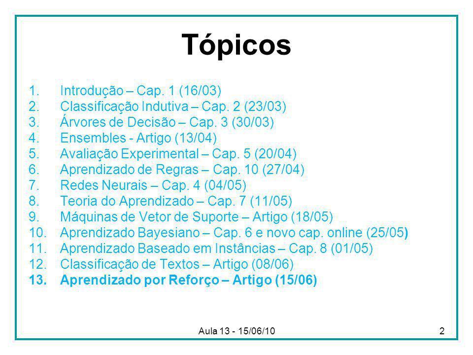 Aula 13 - 15/06/10 Tópicos 1.Introdução – Cap. 1 (16/03) 2.Classificação Indutiva – Cap.