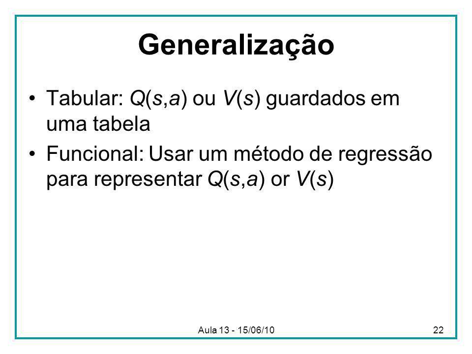 Aula 13 - 15/06/1022 Generalização Tabular: Q(s,a) ou V(s) guardados em uma tabela Funcional: Usar um método de regressão para representar Q(s,a) or V(s)