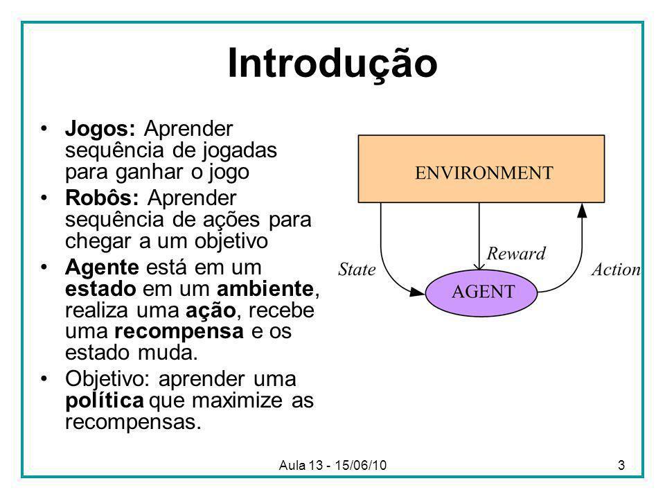 Aula 13 - 15/06/103 Introdução Jogos: Aprender sequência de jogadas para ganhar o jogo Robôs: Aprender sequência de ações para chegar a um objetivo Agente está em um estado em um ambiente, realiza uma ação, recebe uma recompensa e os estado muda.