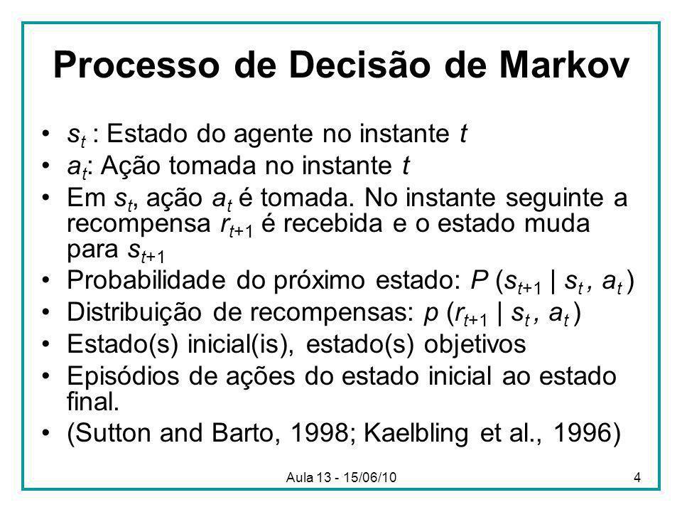 Aula 13 - 15/06/104 Processo de Decisão de Markov s t : Estado do agente no instante t a t : Ação tomada no instante t Em s t, ação a t é tomada.