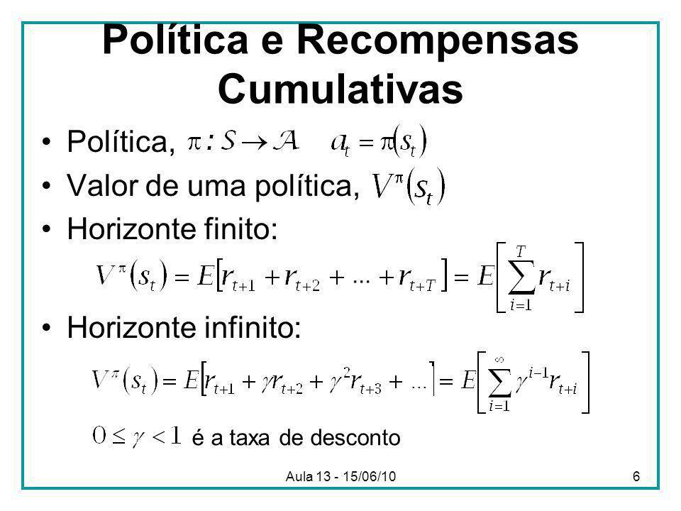 Aula 13 - 15/06/106 Política e Recompensas Cumulativas Política, Valor de uma política, Horizonte finito: Horizonte infinito:...