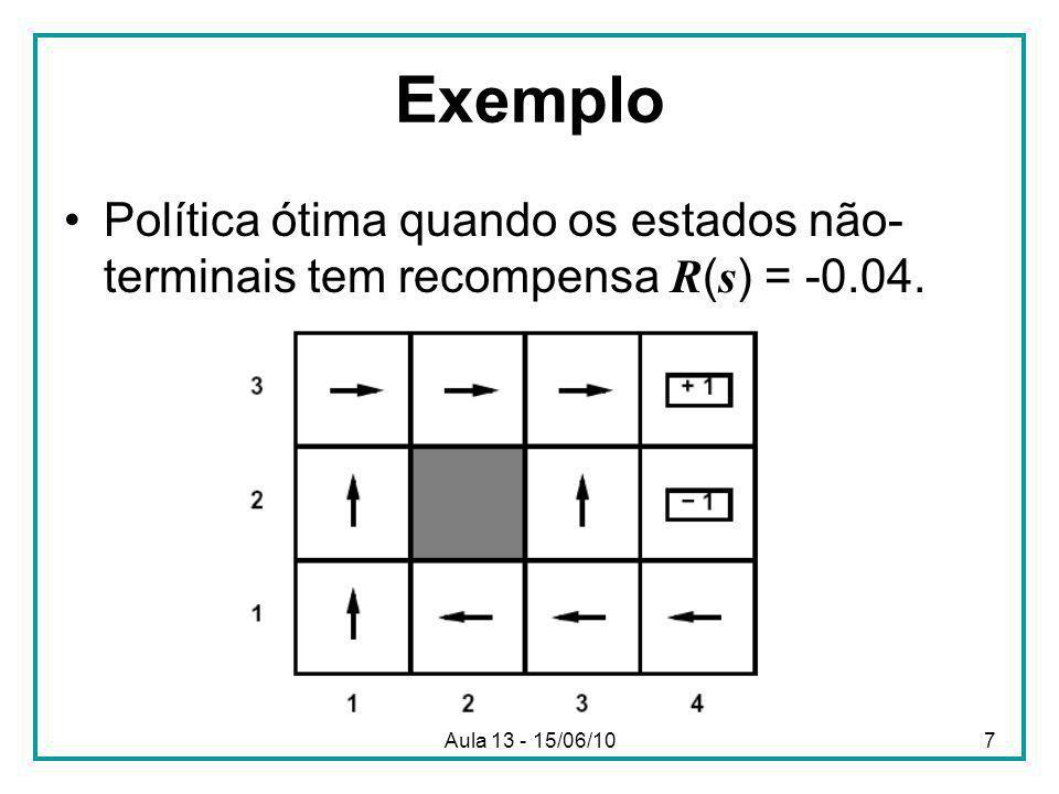 Aula 13 - 15/06/107 Exemplo Política ótima quando os estados não- terminais tem recompensa R ( s ) = -0.04.