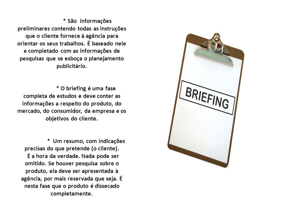 * São informações preliminares contendo todas as instruções que o cliente fornece à agência para orientar os seus trabalhos. É baseado nele e completa