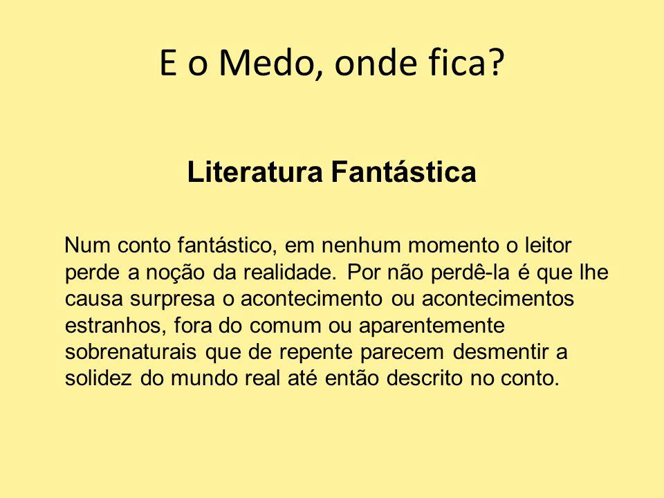 E o Medo, onde fica? Literatura Fantástica Num conto fantástico, em nenhum momento o leitor perde a noção da realidade. Por não perdê-la é que lhe cau