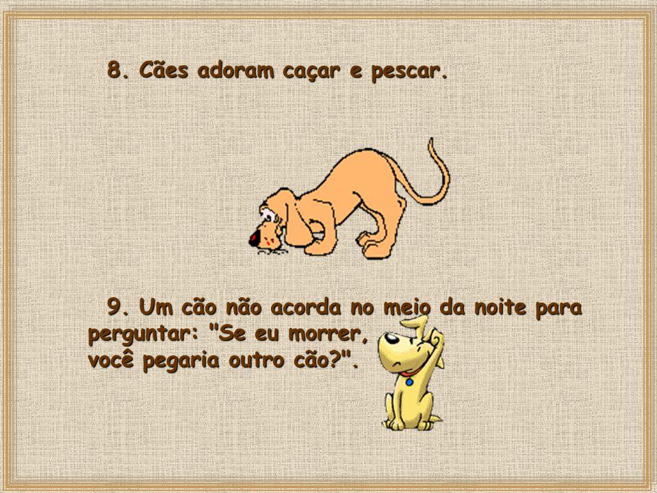 8.Cães adoram caçar e pescar. 9.