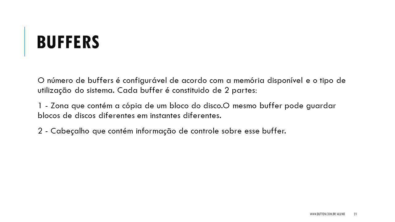 BUFFERS O número de buffers é configurável de acordo com a memória disponível e o tipo de utilização do sistema. Cada buffer é constituido de 2 partes