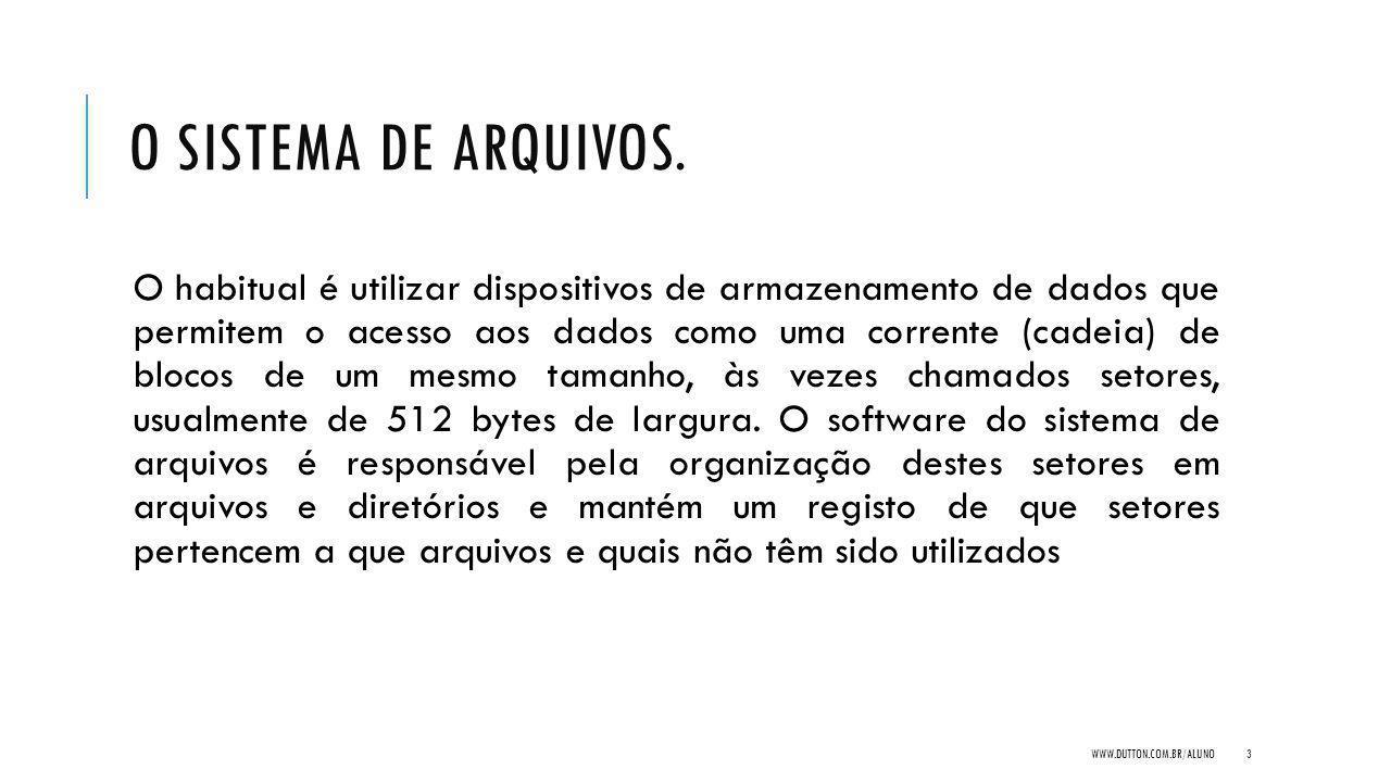 O SISTEMA DE ARQUIVOS.
