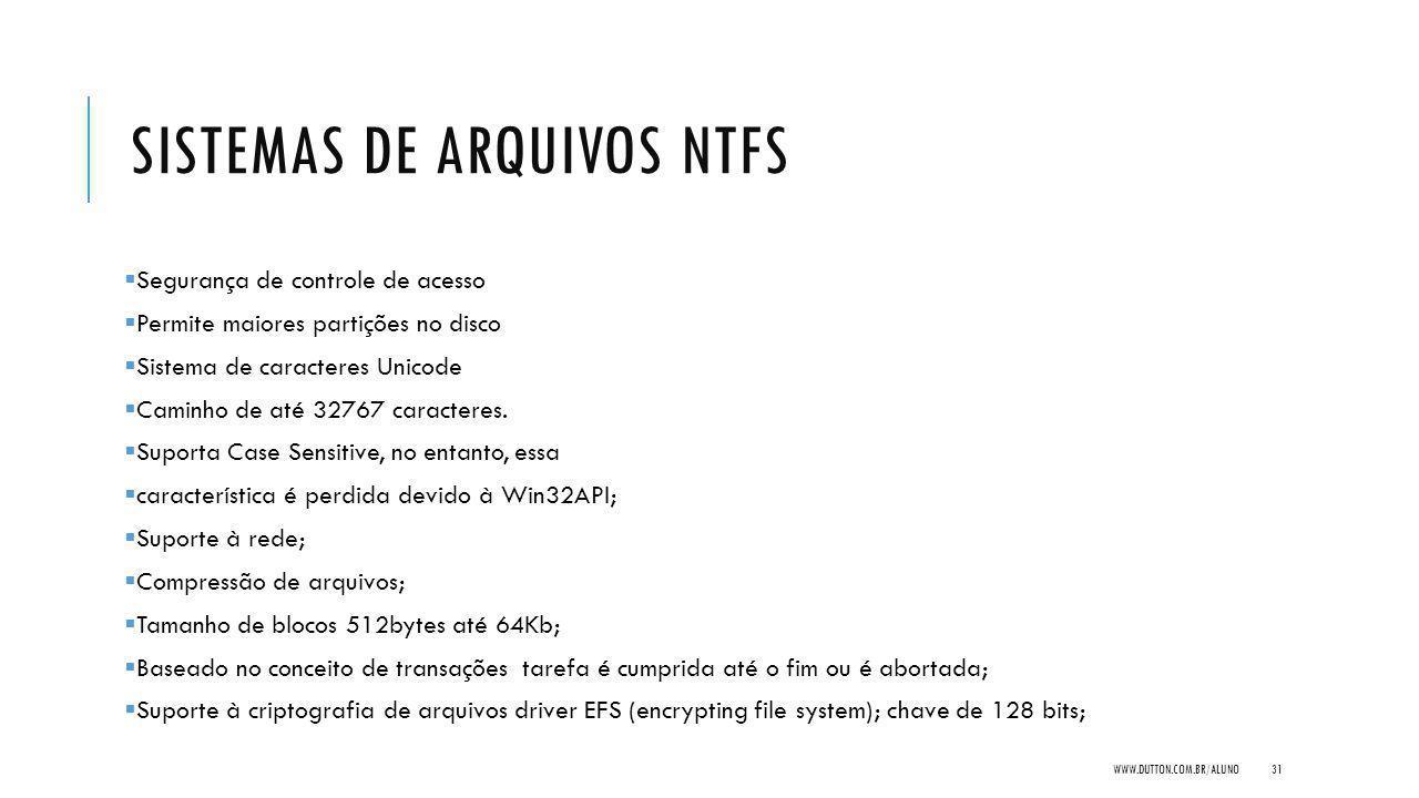 SISTEMAS DE ARQUIVOS NTFS Segurança de controle de acesso Permite maiores partições no disco Sistema de caracteres Unicode Caminho de até 32767 caracteres.