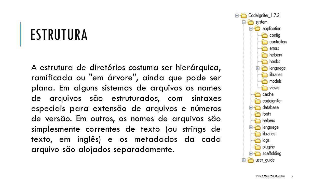 ESTRUTURA A estrutura de diretórios costuma ser hierárquica, ramificada ou em árvore , ainda que pode ser plana.