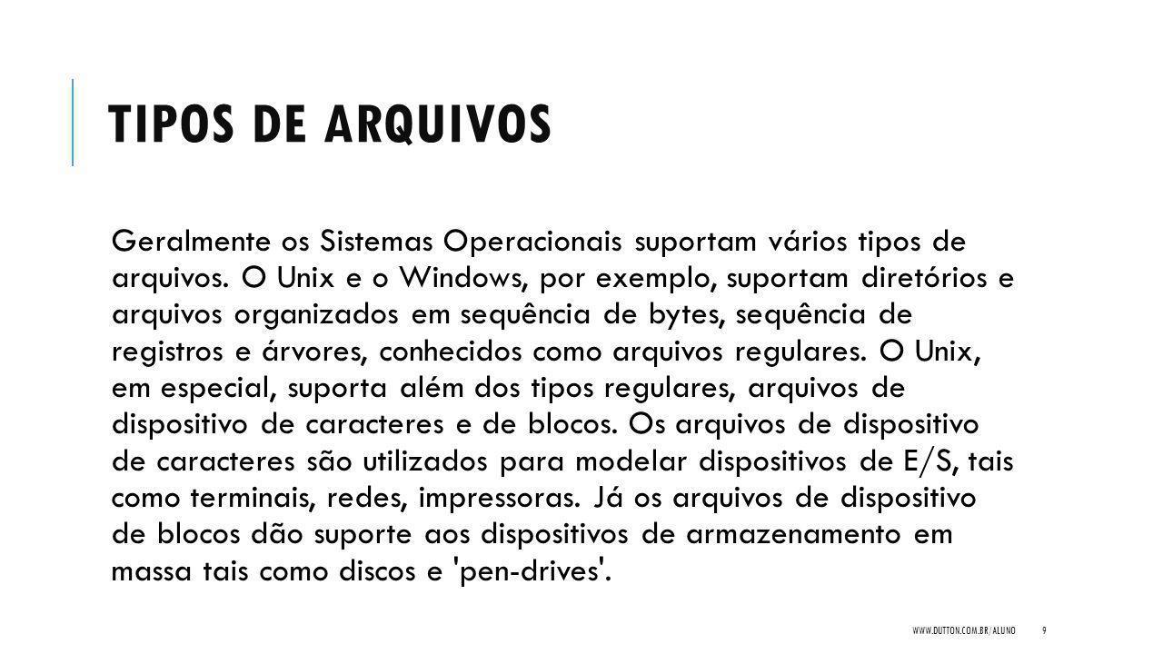 TIPOS DE ARQUIVOS Geralmente os Sistemas Operacionais suportam vários tipos de arquivos. O Unix e o Windows, por exemplo, suportam diretórios e arquiv