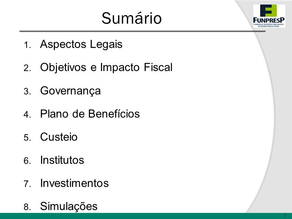 Sumário 1. Aspectos Legais 2. Objetivos e Impacto Fiscal 3. Governança 4. Plano de Benefícios 5. Custeio 6. Institutos 7. Investimentos 8. Simulações