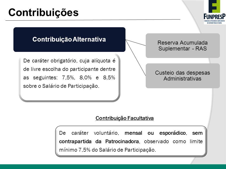 Contribuição Alternativa Reserva Acumulada Suplementar - RAS Custeio das despesas Administrativas De caráter obrigatório, cuja alíquota é de livre esc