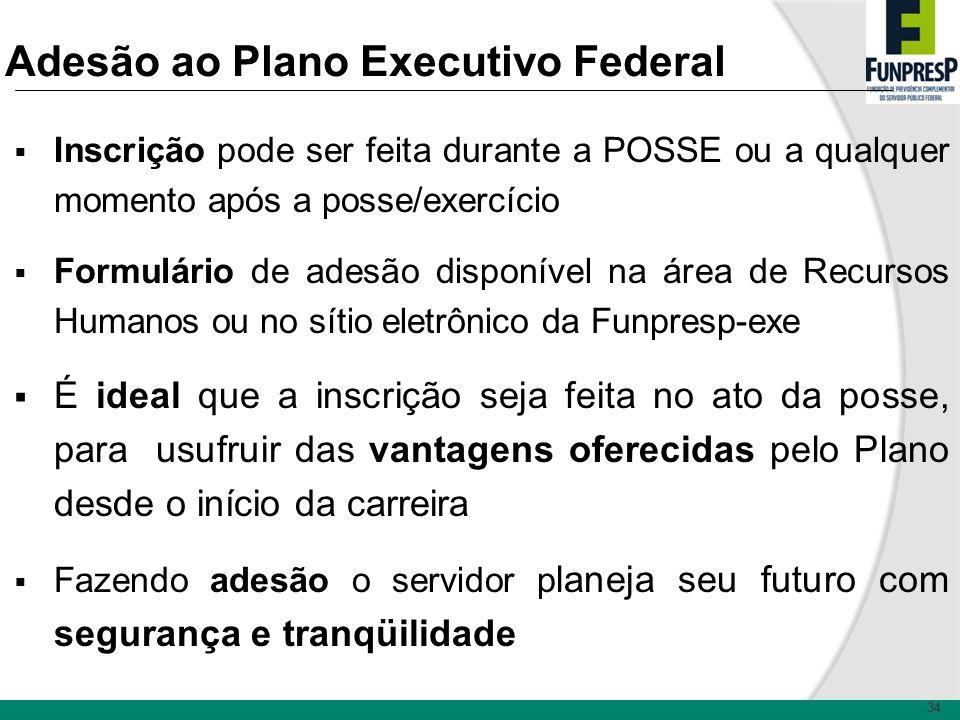 34 Adesão ao Plano Executivo Federal Inscrição pode ser feita durante a POSSE ou a qualquer momento após a posse/exercício Formulário de adesão dispon