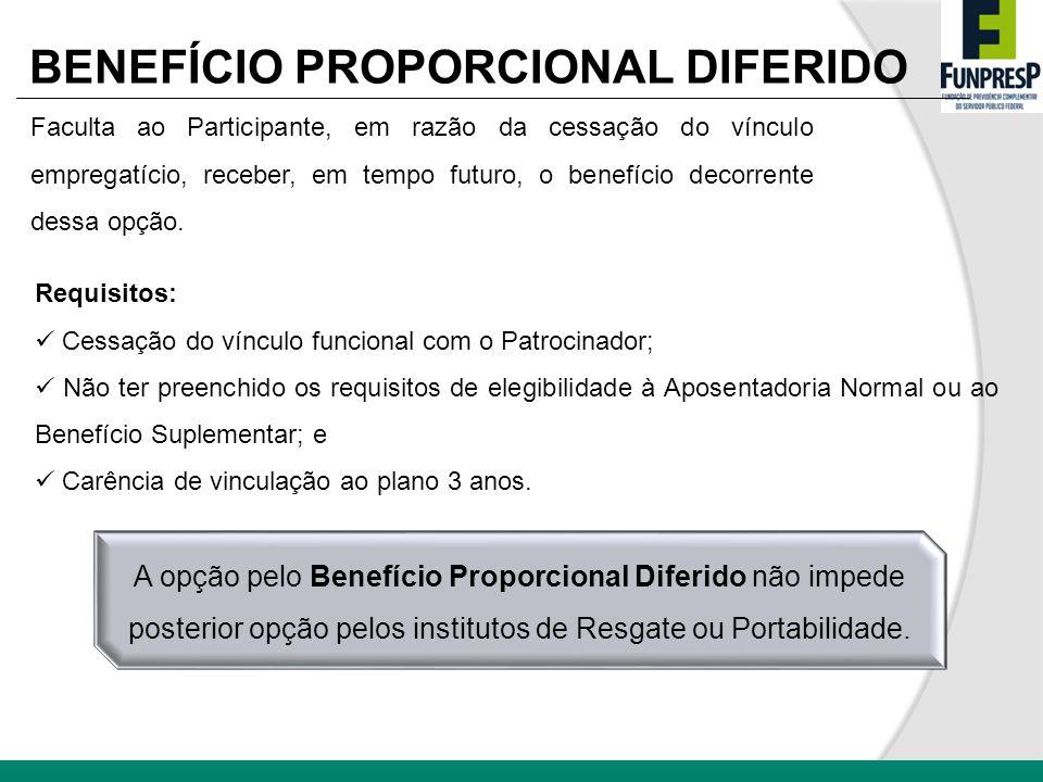 BENEFÍCIO PROPORCIONAL DIFERIDO Faculta ao Participante, em razão da cessação do vínculo empregatício, receber, em tempo futuro, o benefício decorrent