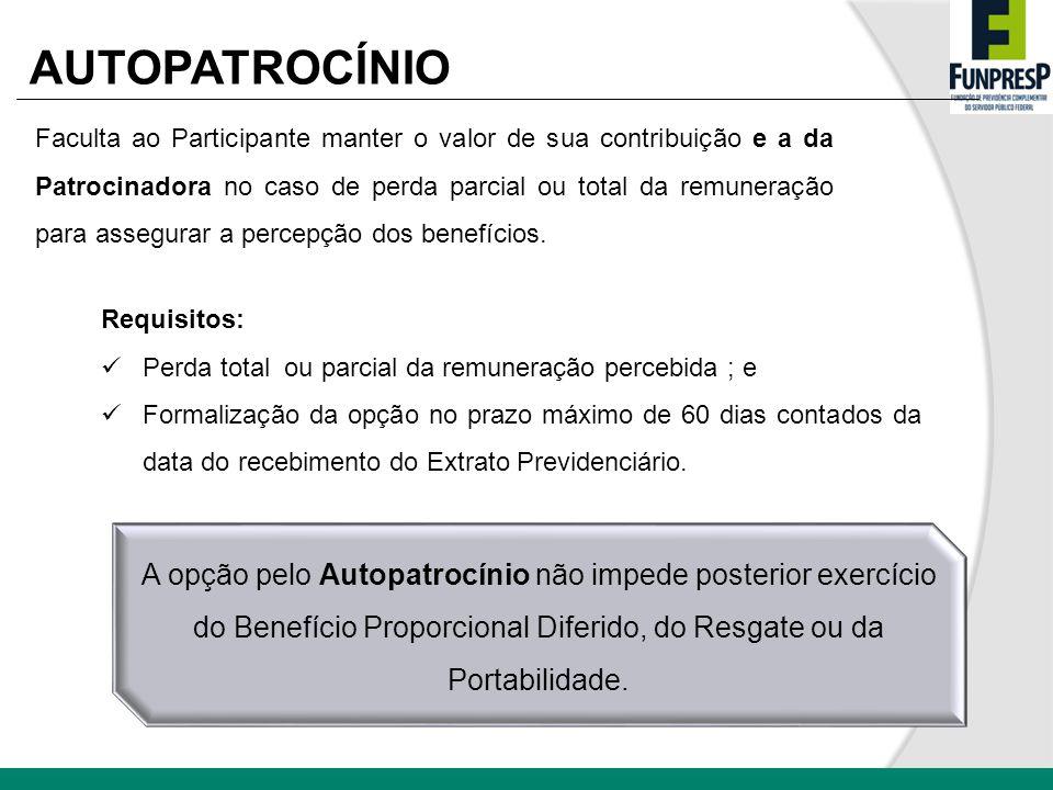 AUTOPATROCÍNIO Faculta ao Participante manter o valor de sua contribuição e a da Patrocinadora no caso de perda parcial ou total da remuneração para a