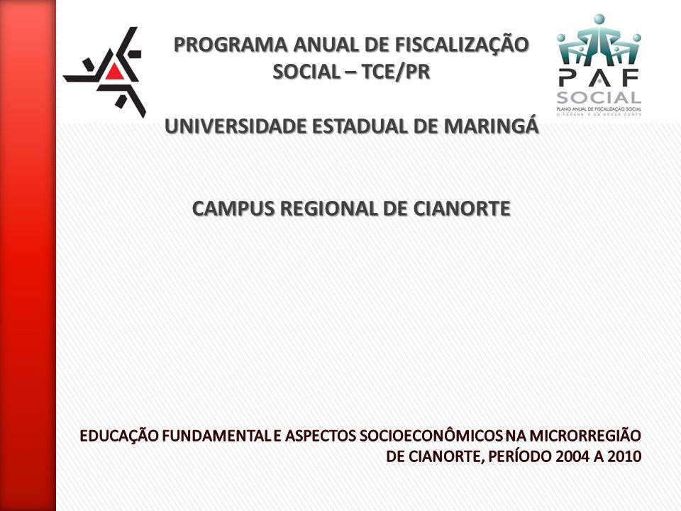PROGRAMA ANUAL DE FISCALIZAÇÃO SOCIAL – TCE/PR UNIVERSIDADE ESTADUAL DE MARINGÁ CAMPUS REGIONAL DE CIANORTE