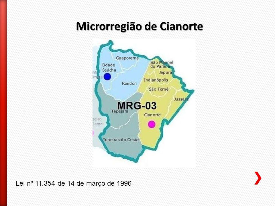 Microrregião de Cianorte Lei nº 11.354 de 14 de março de 1996